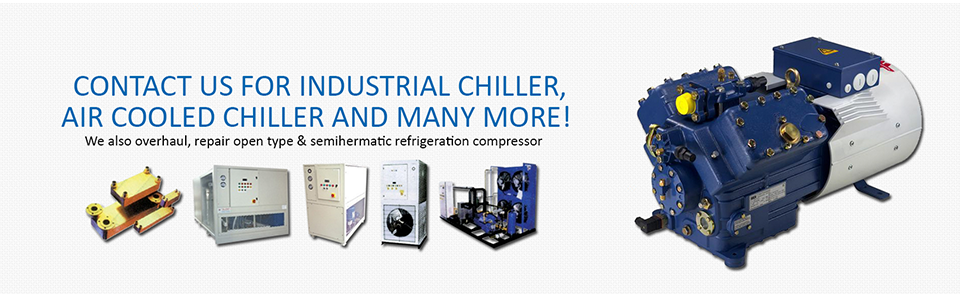 Specialist in Industrial Chiller, Air Cooled Chiller, Water Cooled Chiller, Cold Room System, Cooling Tower, Air Conditioning Equipment, Refrigeration Compressor, Chiller Maintenance, Portable Mini Chiller, Chiller Repair, Refrigeration Repair.