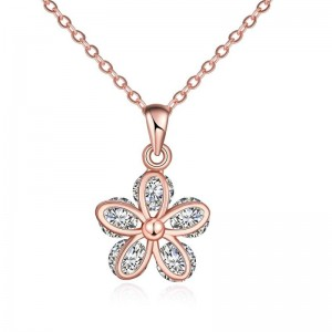 N120 - B ZIRCON NECKLACE FASHION JEWELRY (ROSE GOLD)