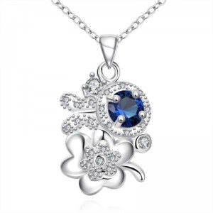 N125 - A 925 SILVER PLATED PENDANT NECKLACE JEWELRY (SILVER AND BLUE)