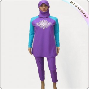 Purple & Royal Long Sleeve Muslim Swimwear