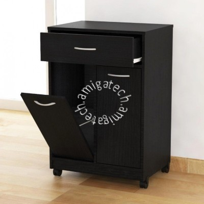 Friendly Dustbin (Kitchen Cabinet) KC 2400 Black Oak