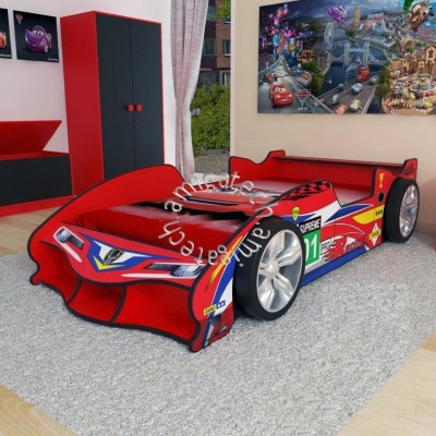 F1 Racing Sport Car Super Single Bedframe with Wheels