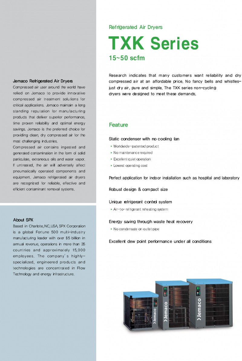 Refrigerant Air Dryers - TXK Series