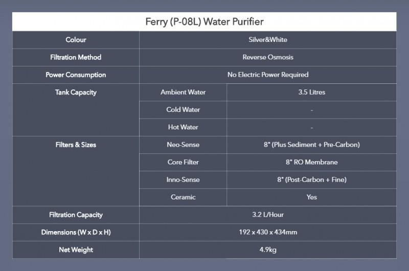 Spec - Ferry (P-08L) Water Purifier